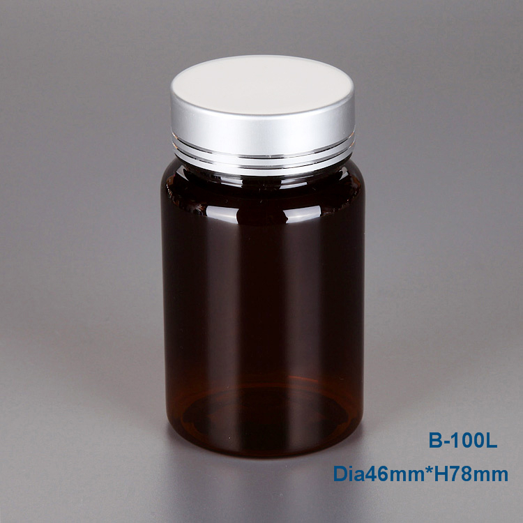 100ml amber plastic container ,essential oil bottle,pill vitamin packaging jar factory for sale
