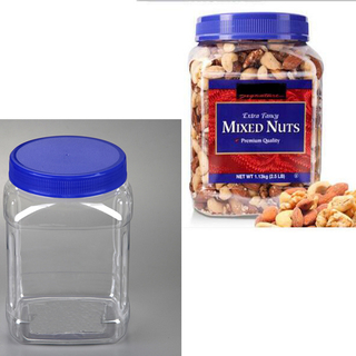 Square 2 litre candy plastic jars, Large Plastic Pet Jar for Dry Nuts