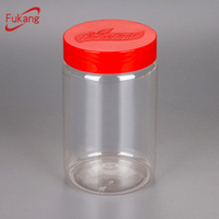 Round Plastic Containers for Cookies,450ml Clear Bottles for Candy & Confectionery,Plastic Jars for Nuts