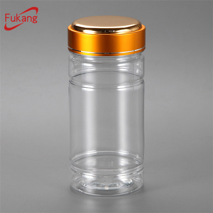 275cc clear PET plastic capsule bottles with aluminum cap, 250cc pet medicine storage containers wholesale China supplier