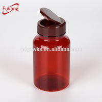 150cc amber supplement bottle container with flip top cap, plastic pet vitamin bottles factory