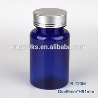 pharmaceutical use 4 oz brown plastic capsule jar with silver lid